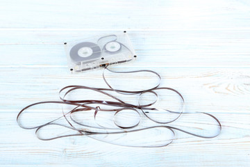 Cassette tape on white wooden table