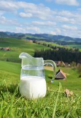 Wall Mural - Milk and cows. Emmental region, Switzerland