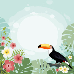 Toucan on a tropical background, vector illustration