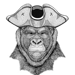 Gorilla, monkey, ape Frightful animal wearing pirate hat Cocked hat, tricorn Sailor, seaman, mariner, or seafarer