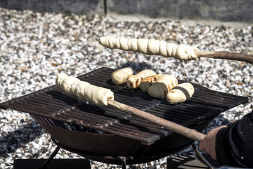 Bread on an outdoor grill