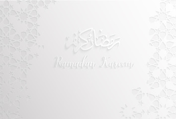 ramadan backgrounds vector,Ramadan kareem on arabic pattern white background