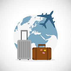 verreisen mit gepackten koffern