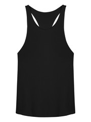 Black sleeveless T-shirt isolated on white