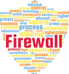 Firewall Word Cloud Text Illustration in shape of a Shield. Computer Protection keyword tags isolated vector. Transparent.