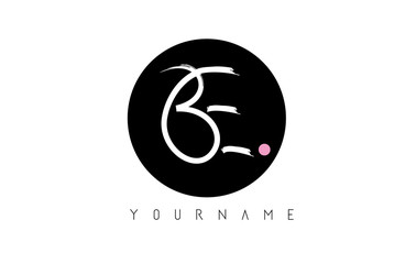 BE Handwritten Brush Letter Logo Design with Black Circle.
