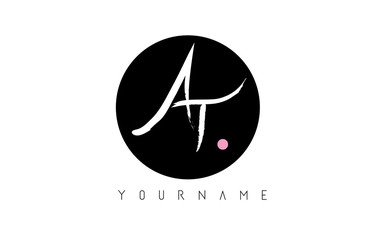 AT Handwritten Brush Letter Logo Design with Black Circle.