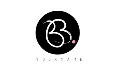 BB Handwritten Brush Letter Logo Design with Black Circle.