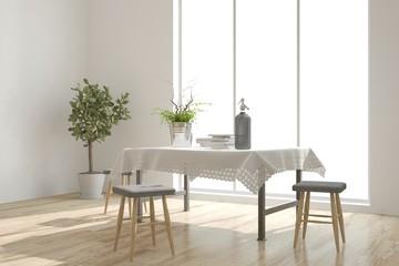 White modern dinner room. Scandinavian interior design. 3D illustration