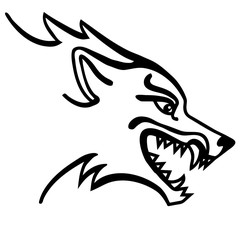 Vector illustration of wolf head black and white