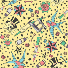 Seamless pattern with traditional tattoo designs, tattoo equipment and piercings