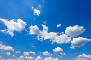 White and fluffy clouds on a blue sky