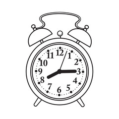 Retro style analog alarm clock, black and white sketch style vector illustration isolated on white background. Realistic hand drawing of analog retro, vintage alarm clock with two bells