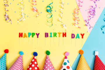 Happy birthday theme on a bright background