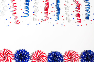 USA holiday decorations on a white background