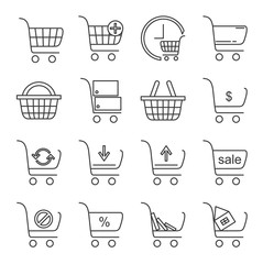 Set of shopping cart Related Vector Line Icons. Includes such Icons as shopping cart, grocery cart, online shopping, buy books, discount, sale, upgrade, recycle bin, Internet shop