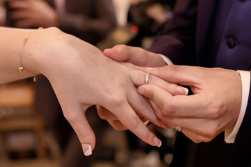 Close-up hands of bride and groom putting on a wedding rings