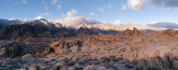 California Alpine Panoramic Alabama Hills Sierra Nevada Range California