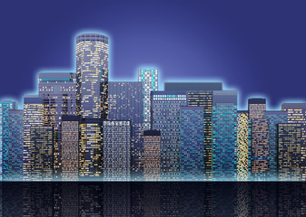 panorama of colored skyscrapers city at night