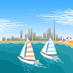 Two wind yachts on the city beach