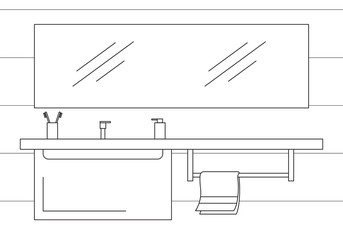 Part of the bathroom. Mirror, top and hanging cupboard. Vector illustration in a linear style.