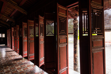 Old chinese asian wooden doors at temple