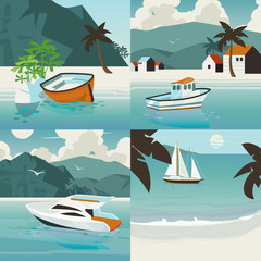 Four square nautical illustration set with tropical paradise landscape with various marine vessels.
