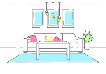 Linear sketch of the interior. Sofa, table, part of the room. Linear interior with colored elements. Vector illustration.