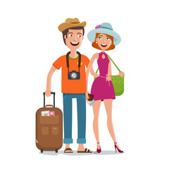 Travel, journey, honeymoon trip concept. People, couple goes on vacation with bags in hands. Cartoon vector illustration