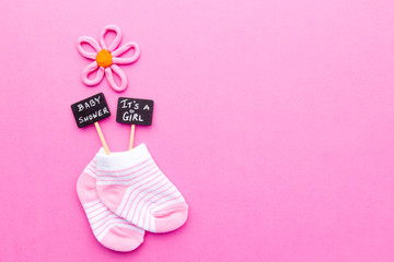 Baby Girl Announcement   Pink And White Socks On Pink Background With Baby  Shower And Itu0027s