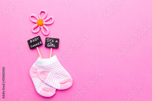 Baby Girl Announcement Pink And White Socks On Pink Background