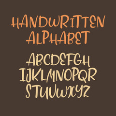Alphabet uppercase letters. Vector font. Modern calligraphy. Isolated on white.