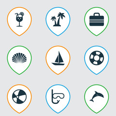 Season Icons Set. Collection Of Lemonade, Balloon, Ship And Other Elements. Also Includes Symbols Such As Sea, Conch, Juice.