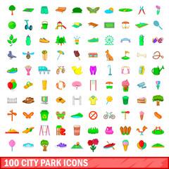 100 city park icons set, cartoon style