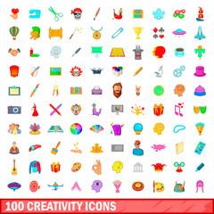 100 creativity icons set, cartoon style