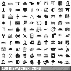 100 dispatcher icons set, simple style