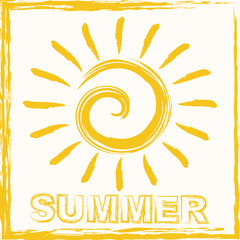Hello summer lettering composition. Inspirational quote with hand-drawn artistic letters. Vector illustration with sun silhouette. Design element for seasonal posters, t-shirts, cards