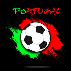 Soccer ball against the background of the Portugal flag
