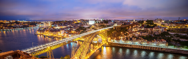 Porto, Portugal: the Dom Luis I Bridge and the old town at sunset