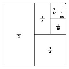 Unit fractions drawn as portions of a square. One divided by the first six powers of two. First six summands of infinite series 1/2, 1/3, 1/4, 1/8, 1/16, 1/64, ... Black and white illustration. Vector