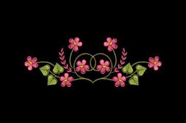 Embroidered satin stitch, melange thread pattern of pink flowers and leaves on black background