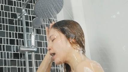 Young Woman Take Bubble Bath.Washing Hair. Stock Footage