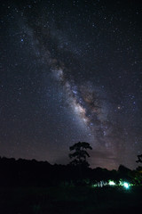Milky Way at Phu Hin Rong Kla National Park,Phitsanulok Thailand.Long exposure photograph.with grain