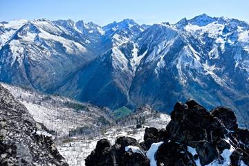 View form  mountain top. Icicle Ridge Peak in Cenrtal Cascade Mountains near Seattle and Leavenworth. Washington. United States.