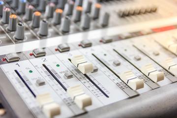 Sound music mixer control panel. Recording Studio. music concept, Shallow depth of field