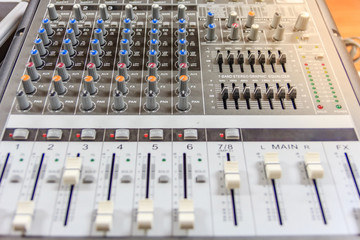 Sound music mixer control panel. Recording Studio. music concept, Shallow depth of field