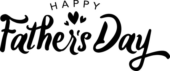 Happy Father's Day Isolated Vector Calligraphy Text Illustration With Hearts