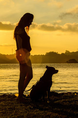 woman and dog silhouette on sunset
