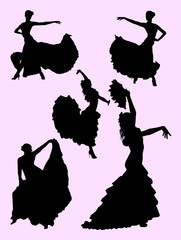 Beautiful woman dancing flamenco. Good use for symbol, logo, web icon, mascot, sign, or any design you want.