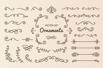 Set Collection of Vintage Ornament Elements